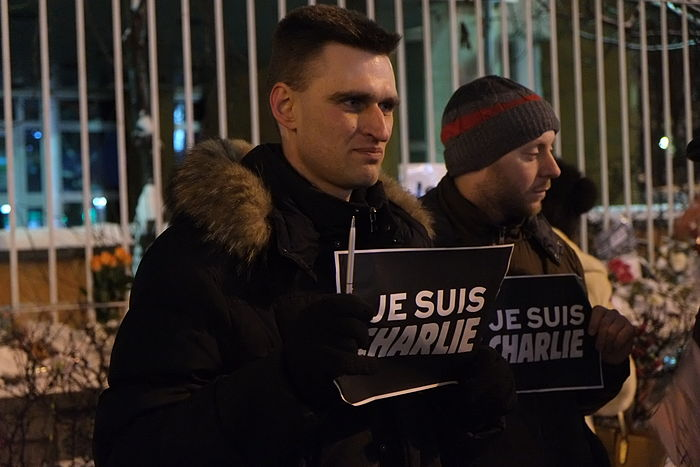 "Supporters of Charlie Hebdo show solidarity with the slogan ""Je suis Charlie"" at a rally in Moscow, Russia"