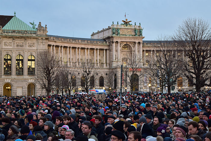 Supporters gather in a rally held in Vienna, Austria, united in their support for Charlie Hebdo and the French