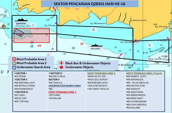 There is no change to the search sectors on Monday, said Malaysia Chief of Navy Abdul Aziz Jaafar. The search focus will be on on Most Probable Area 2, where the black box was found and multiple objects were detected