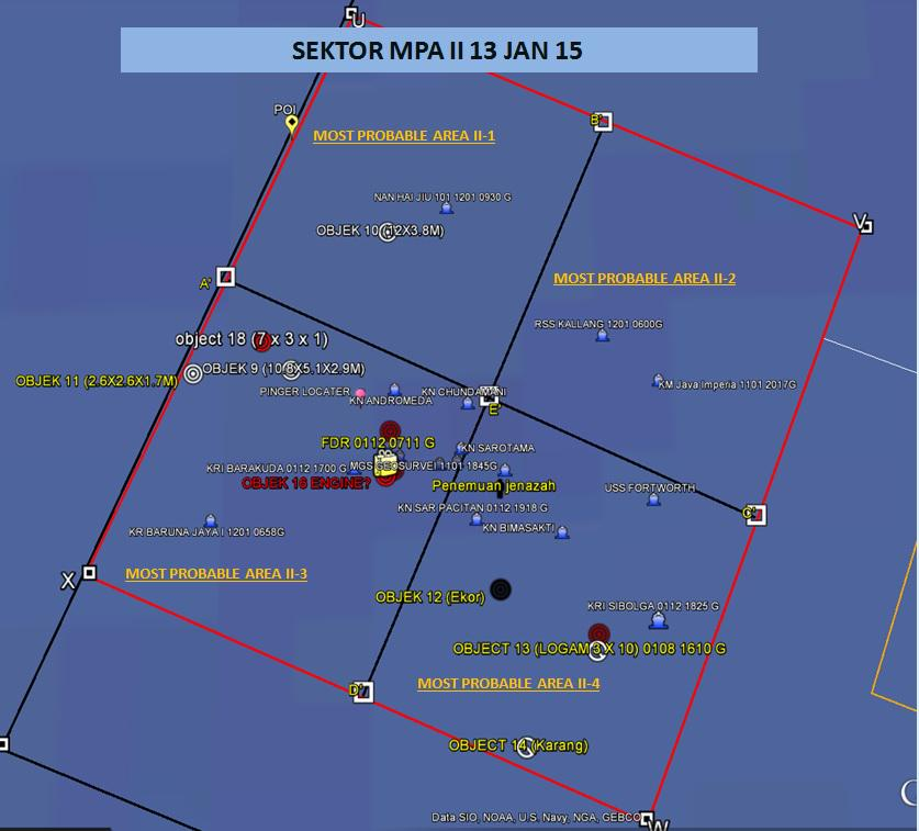 Suspected but unconfirmed sighting of QZ8501's engine – Object 18 on the map below – based on the size and shape of underwater wreckage, an investigator tells our correspondent Jack Board.The map also shows the plane's tail (12), possible stabiliser (18) and location of retrieved black boxes. A large piece of debris is also in the northwest sector