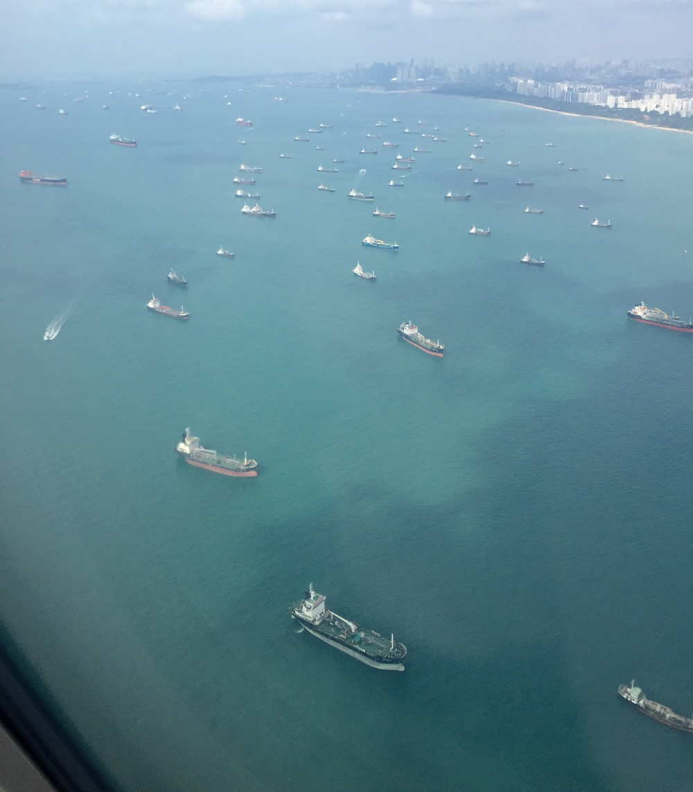 We flew into Singapore's Changi Airport, one of the busiest airports in the world, and here's what we saw:  Possibly close to a hundred commercial ships anchored idling a few kilometers off the East Coast of Singapore . Singapore has one of the world's busiest shipping ports which handles hundreds of billions in trade dollars annually.  The ships, as we observed, consisted of bulk carriers and cargo ships for the majority, car ferries, oil and LNG tankers. Many of those ships were small to medium sized vessels but there were also super-sized ones further out.   The build up in ships anchored offshore and sitting idling is almost unprecedented in our more than 2 decades living in the city state. We fly frequently and have never seen anything quite like this, not even during the Great Recession of 2007-2009.   This observation only means one thing -  under utilization of trading capacity.   This is a demand problem ; trade volumes have been dwindling while the supply of trading facilities (ships and ports) remain more or less constant.  Trade is the lifeblood of the global economy, the lubricant that oils the gears of the colossus. When trde volumes decline and manifest as starkly as in this picture, it is telling the markets and policy markets to take heed .