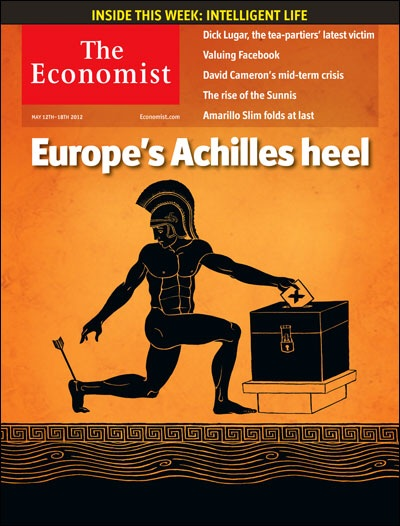 "12 May 2012:  ""Europe's Achilles heel"" is the obvious Greek Spartan who has been stripped of his clothes and armor, now wounded with an arrow to his heel, all while be votes no at the ballots. But ""no"" to what?   Image from The Economist"