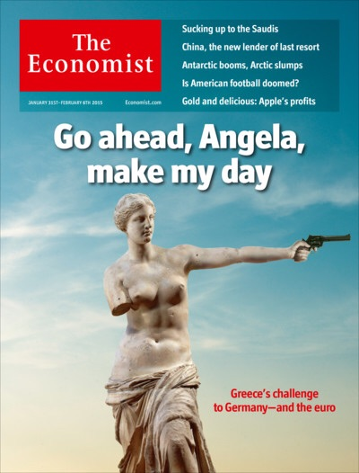 "31 January 2015:  A female Greek statue has her right arm gone but holds a 1970s styled revolver by her left hand, staring rather nonchalantly towards might be German, saying ""Go ahead, Angela, make my day"". By this day, both sides are at loggerheads at just about every matter revolving the ongoing crisis. Greece has also elected a new but incapacitated government.  Image from The Economist"