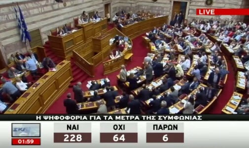 A screen capture of Wednesday's ongoing Greek parliamentary session where politicians voted 228-64 in favor of Greece's latest austerity bailout program.