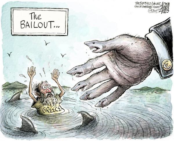 A cartoonist's illustration of the latest Greek bailout package from the Europeans and the Troika, where an oh-so desperate Greece has little choice but to seek help from Europe's preparatory helping hand. An oxymoronic gesture of goodwill, possibly ridden with deeper intents.