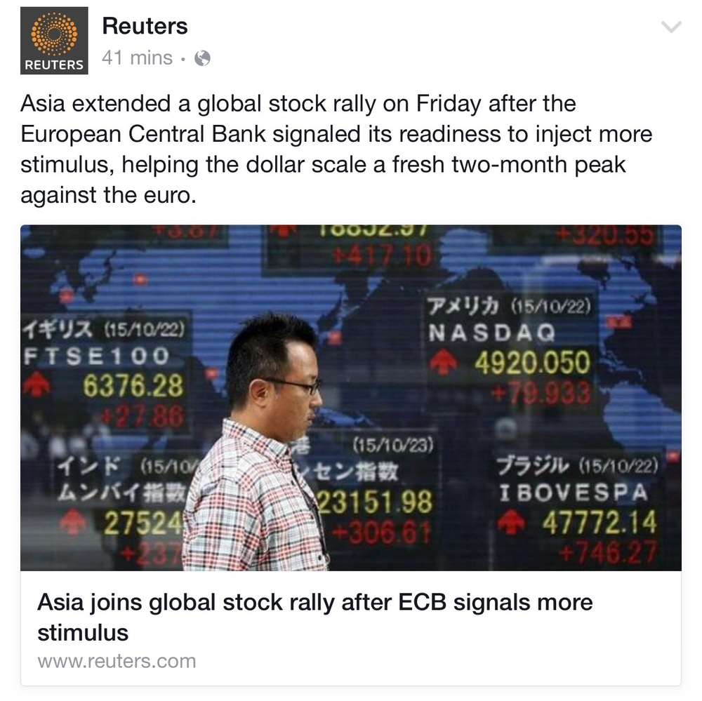 Headlines such as these bolster broad sentiment amongst retail investors which itself has been recovering well. Before we made our bullish call 2 weeks ago, sentiment was still biased bearish. Now, positive sentiment should start to engage fresh inflows into equity funds - a positive for risk markets.  Screenshot from Facebook