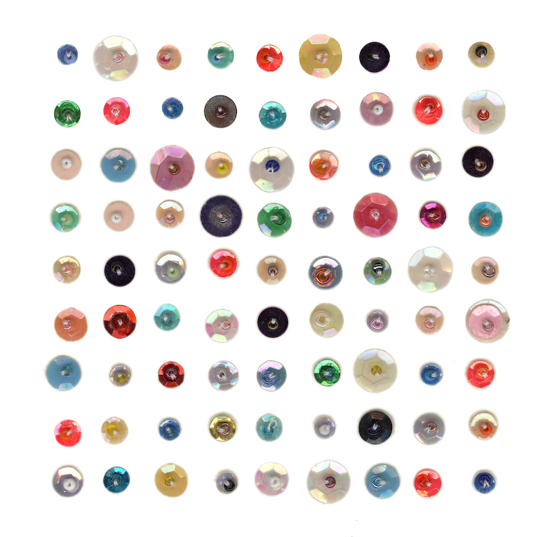 Eveline Kotai - Sequence 1,  sequins on paper 10x10cm + glicee print, 100 x 100cm (private collections)