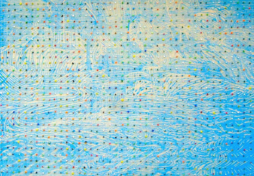 Eveline Kotai - Bead River 1, 2006, beads on woodcut print on Japanese paper, 30 x 45cm (private collection)