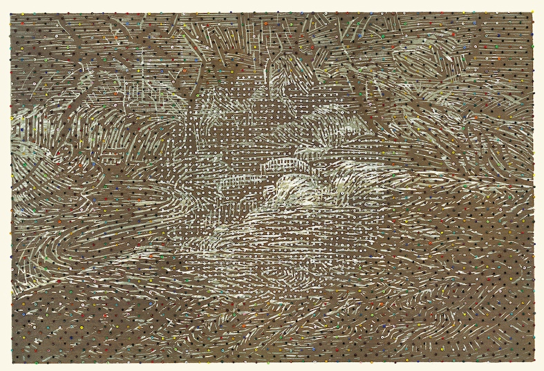 Eveline Kotai, Raw Umbra 1, 2009, beads on woodcut print, 30x45cm, private collection