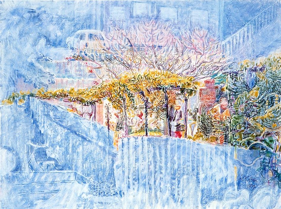 Eveline Kotai - Jack's Garden Fremantle 2001, pastel on paper 57x76cm, private collection