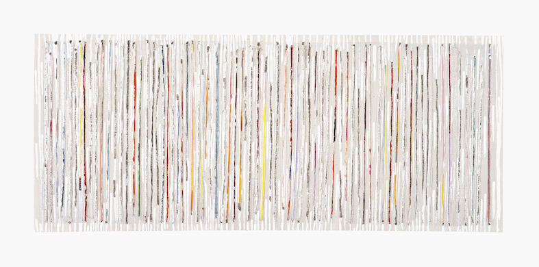 Eveline Kotai - Karri series, 2012, mixed media stitched collage, 40x90cm private collection