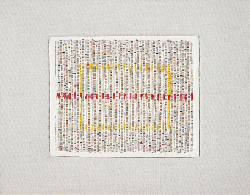 Eveline Kotai - Study with Red Line, 2012, mixed media stitched collage, 20x30cm