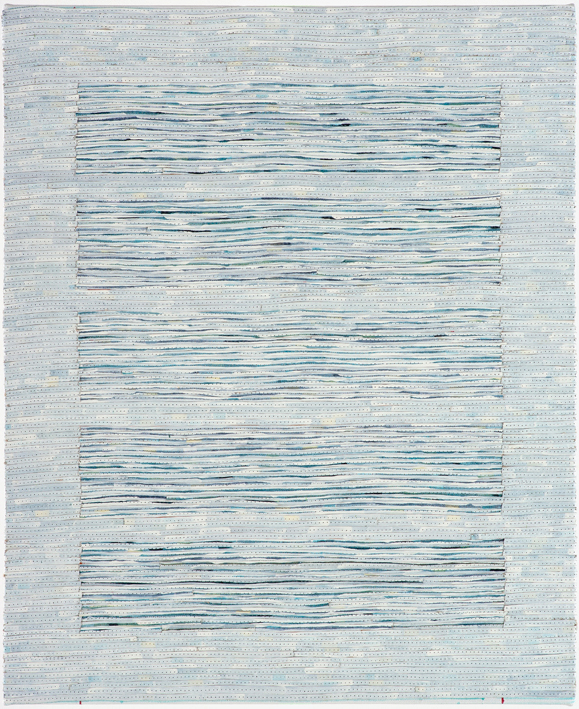 Eveline Kotai - White on Blue 2, 2006, mixed media stitched collage, 50x40cm