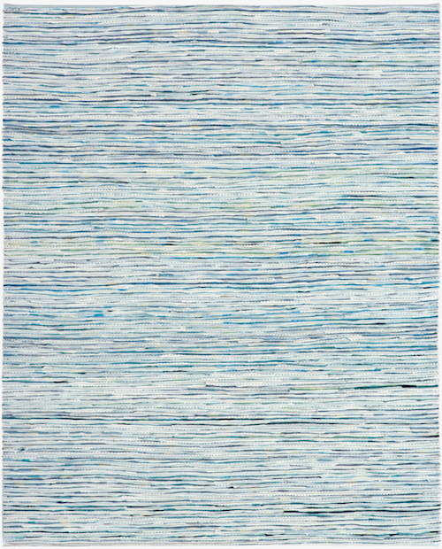 Eveline Kotai - White on Blue 4, 2006, mixed media stitched collage, 50x40cm, private collection