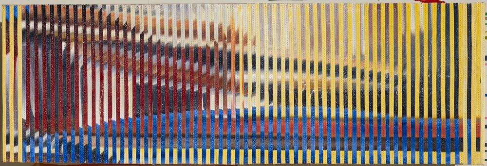 Eveline Kotai - Private commission 1/13, mixed media stitched collage on linen, 25x75cm, private collection