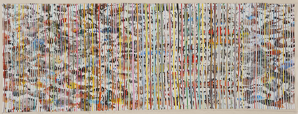 Eveline Kotai - Living Forest 2014, Ink, Acrylic, nylon thread on linen, 66x181cm, private collection