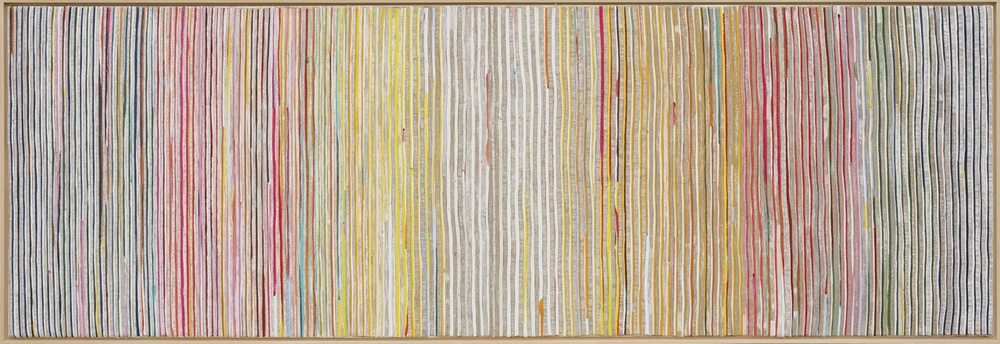 Eveline Kotai - Karri Shift 2, 2014, mixed media stitched collage on linen, 50x150cm, private collection
