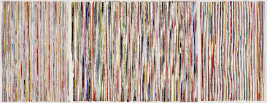 Eveline Kotai - Vertical 2, 2010, mixed media stitched collage on linen, 50x140cm, private collection