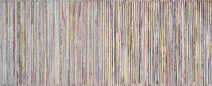 Eveline Kotai - Vertical 1, mixed media stitched collage on linen, 50x130cm, private collection