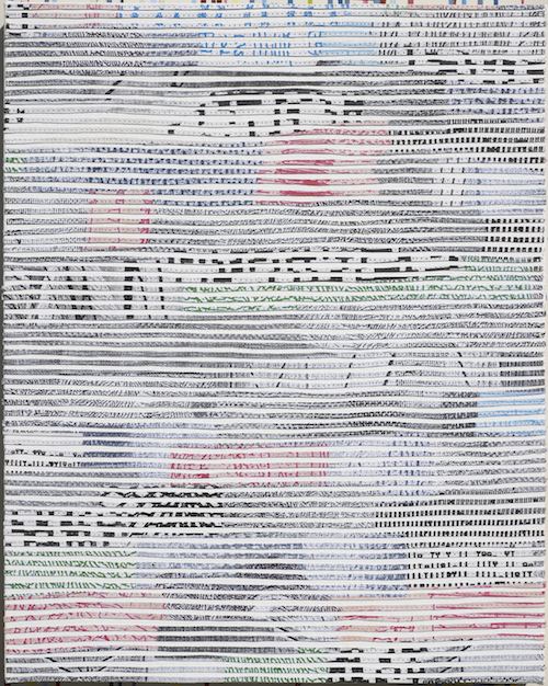 Eveline Kotai - Spectre 1, 2012, mixed media stitched collage on linen, 60x50cm, private collection