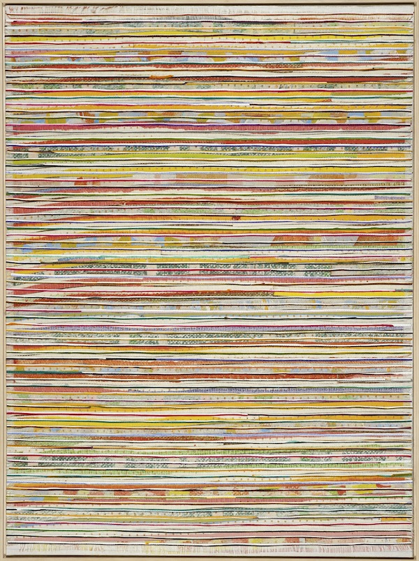 Eveline Kotai - Horizontal Pink, 2012, mixed media stitched collage on linen, 75x101cm, private collection