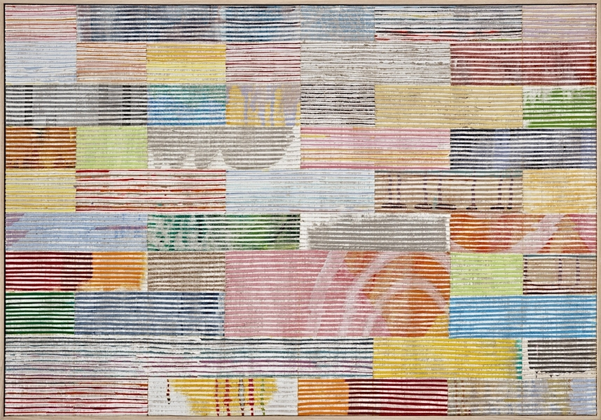Eveline Kotai - Road Trip Murchison, 2011, mixed media stitched collage on linen, 68x88cm, Geraldton Regional Gallery Collection