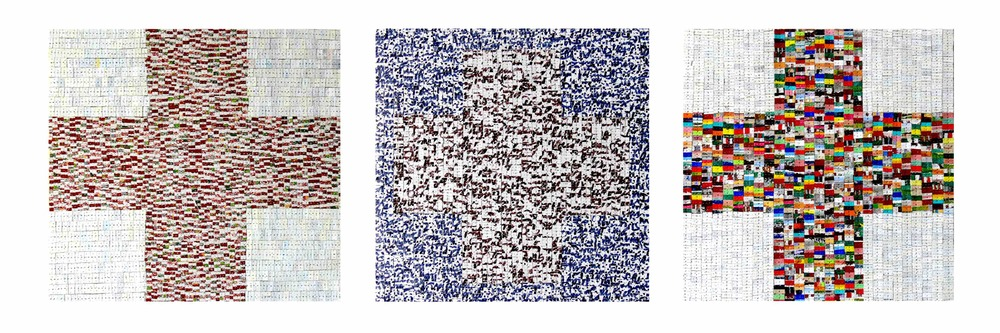 Eveline Kotai - Cross 1,2,3 - 2011, Mixed media, 40x40cm each - private collections