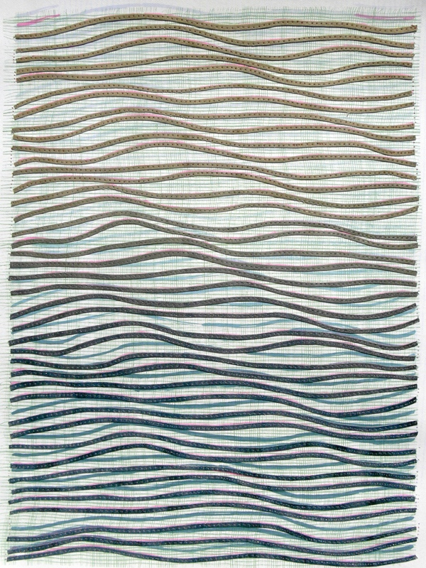 Eveline Kotai - Ripple Effect/Grey, 2012, mixed media stitched collage, 63x53cm (private collection)