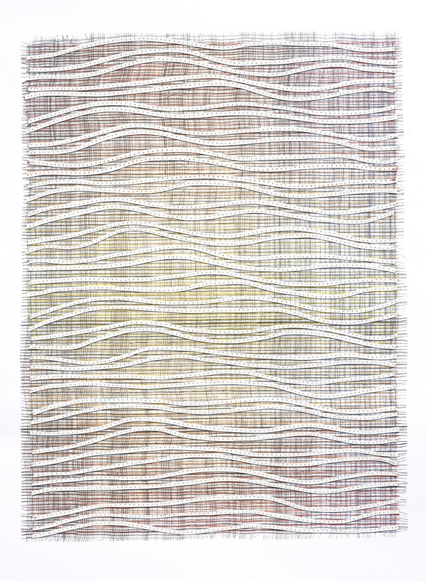 Eveline Kotai - Ripple Effect/White, 2012, mixed media stitched collage, 63x53cm (private collection)