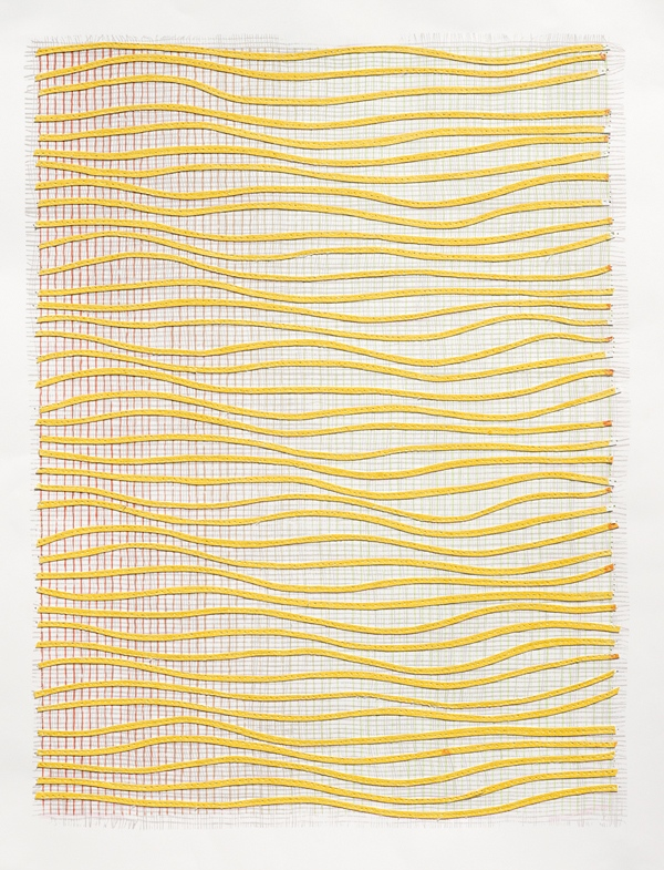 Eveline Kotai, Ripple Effect / Yellow 2012, mixed media stitched collage, 63x53cm (private collection)