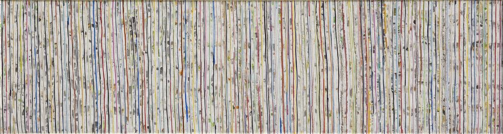 Eveline Kotai - Inside Forest, 2010, mixed media stitched collage, 25x125cm (private collection)