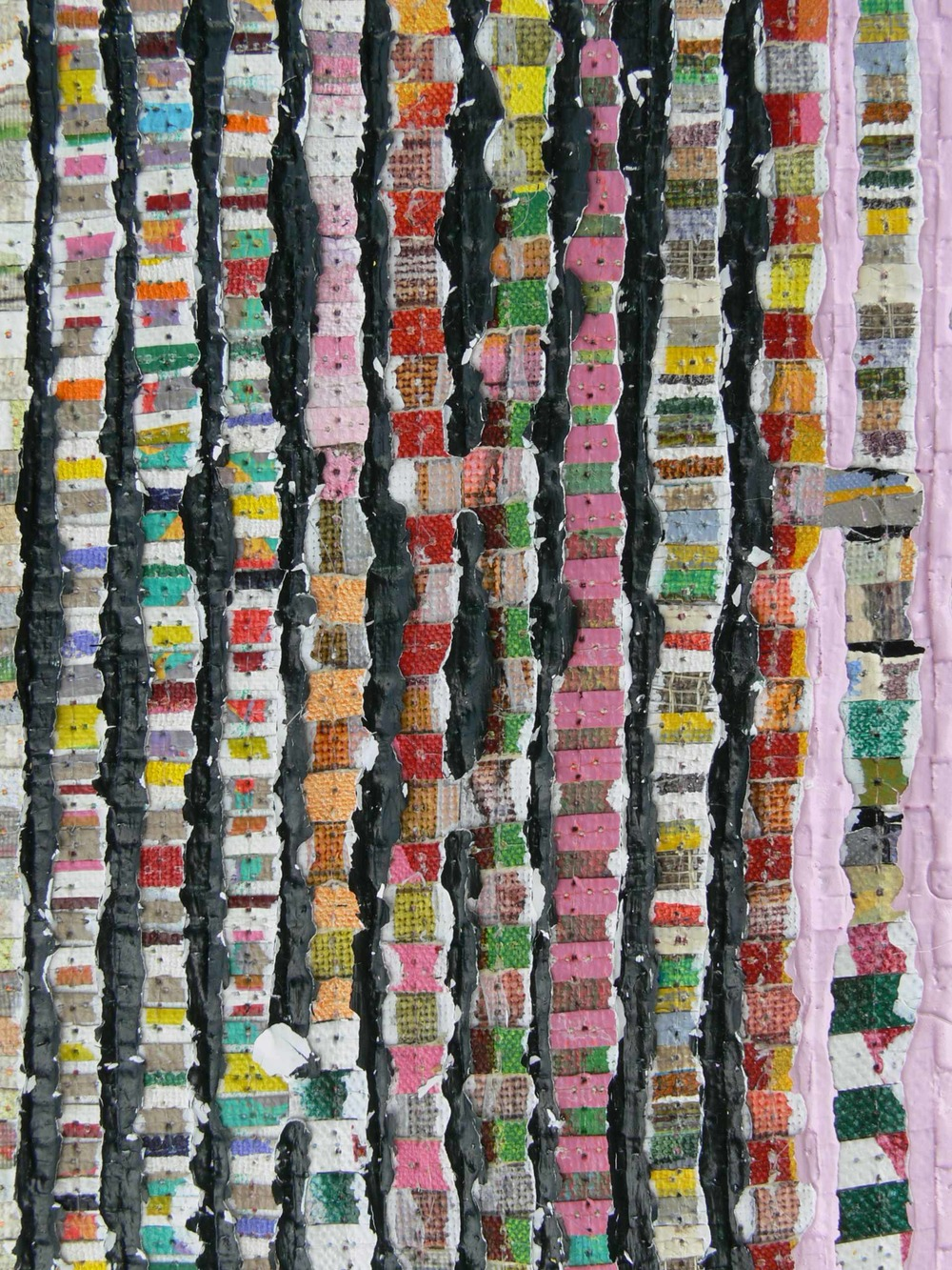 Eveline Kotai - DETAIL Karri Shift 3, 2014, mixed media stitched collage on linen, 20x140cm, Art Collective WA