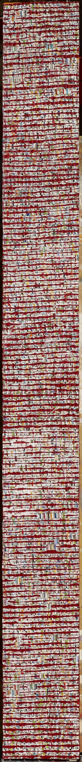 Eveline Kotai - Totem/Red, 2012, mixed media stitched collage, 140x12cm (private collection)