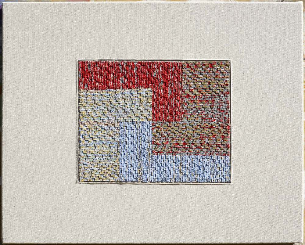 Eveline Kotai, Study for 'L', mixed media stitched collage, 30x40cm, private collection
