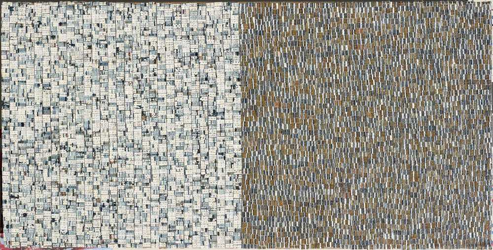 Eveline Kotai, Open Field 1, 2012, mixed media stitched collage, 30x60cm, private collection