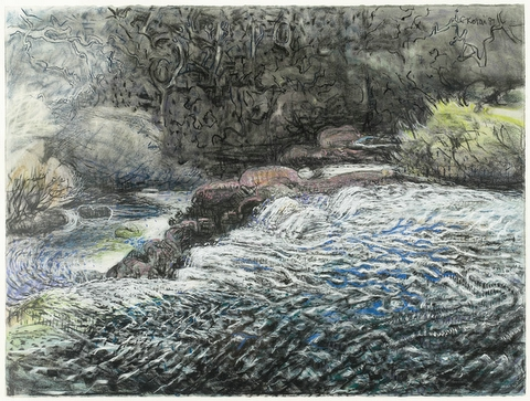 Margaret River - Full Flood 1986, pastel and charcoal on Arches paper, 57 x 76cm. Collection of Mark Hohnen