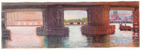 Eveline Kotai - Quay Holes, Fremantle, 1993, pastel on Arches, 100x40cm, private collection