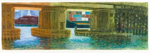 Eveline Kotai - Quay Holes 2, Fremantle, 1993, pastel on Arches, 100x40cm, private collection