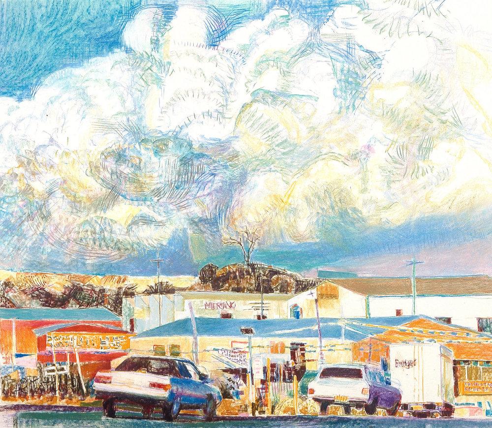 Fremantle Skies 2 1990, pastel on Arches paper, 90 x 90cm