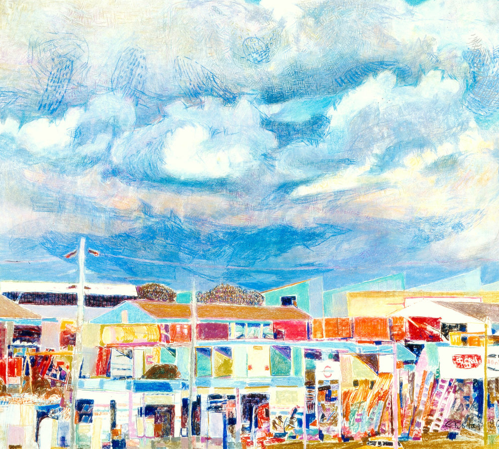 Fremantle Skies 1 1990, pastel on Arches paper, 90 x 90cm