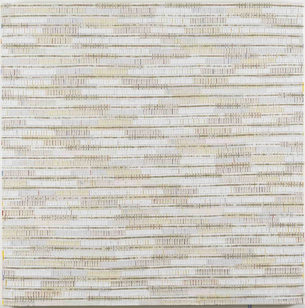 Eveline Kotai - White Noise Remix 1, 2016, acrylic, canvas, nylon thread and linen, 91x91cm.