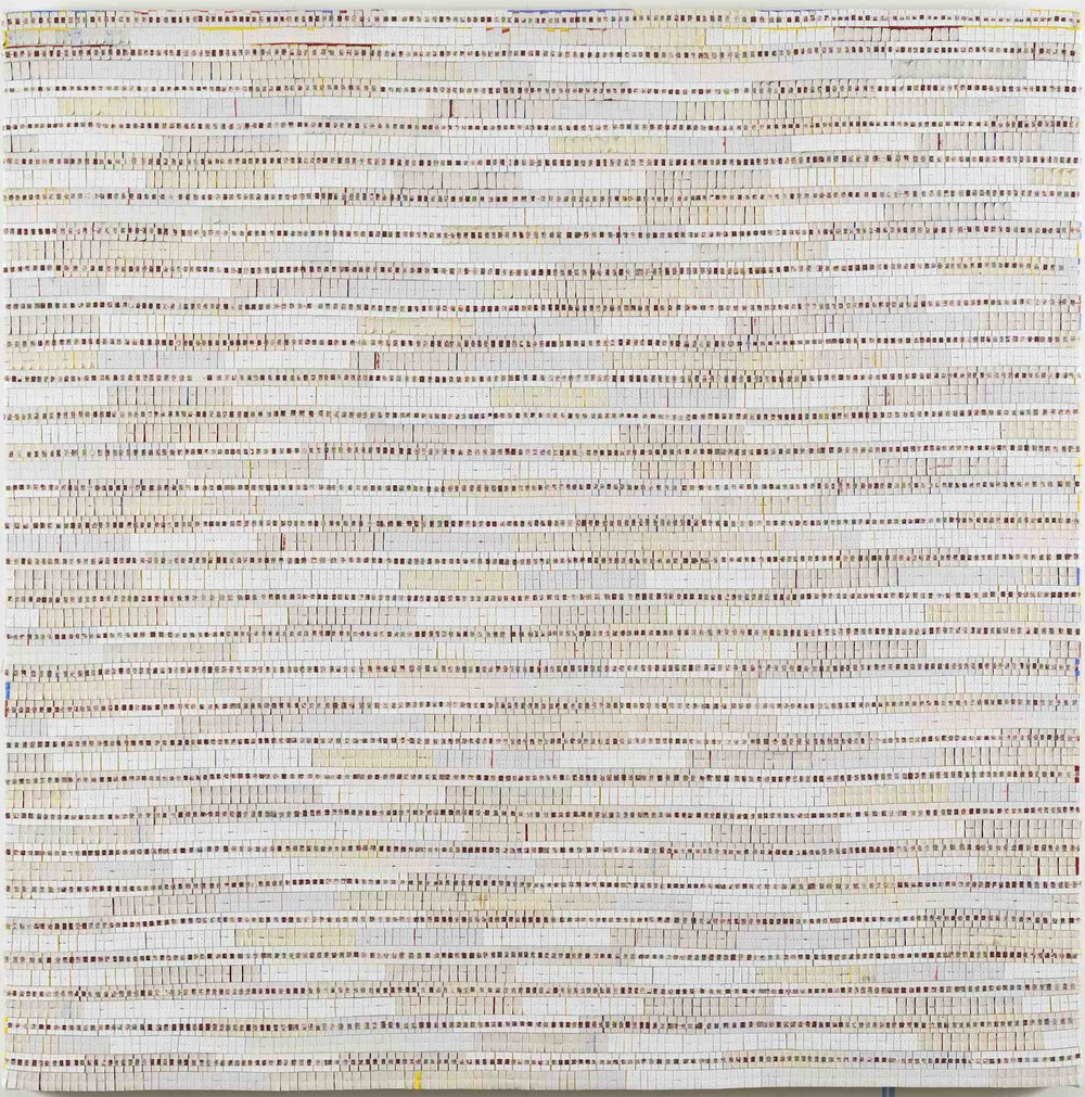 Eveline Kotai - White Noise Remix 2, 2016, acrylic, canvas, nylon thread and linen, 91x91cm.