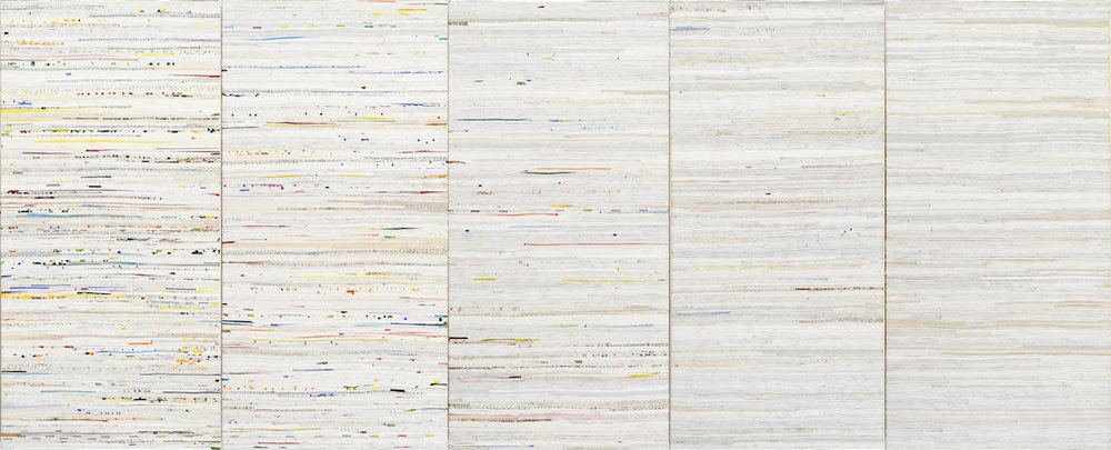 Trace Elements 2016, acrylic and nylon thread on linen, 120 x 300cm (5 panels). Collection of the Art Gallery of Western Australia