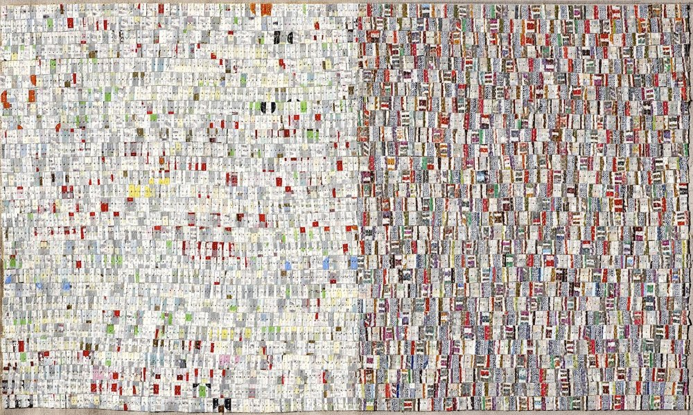 Open Book 1 2010, oil, acrylic, nylon thread on linen, 30 x 50cm. Private Collection