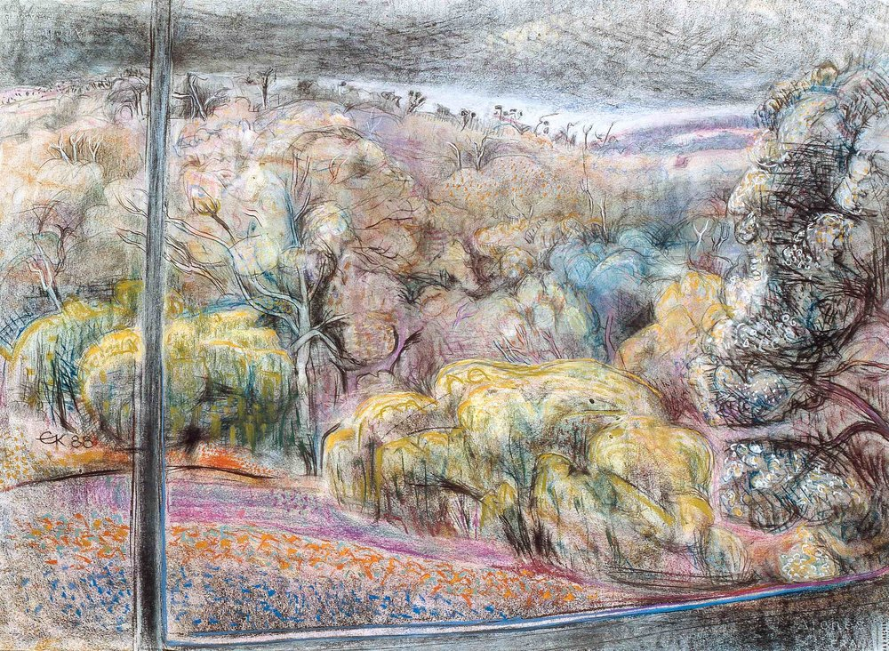 Margaret River Studio Window 3 1988, pastel and gesso paper, 57 x 76cm. Private Collection