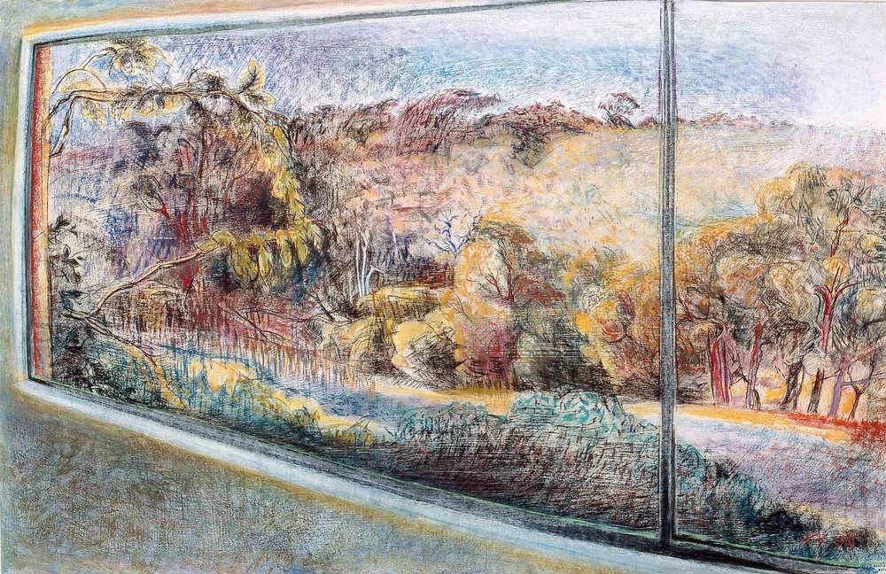 Margaret River Studio Window 3 1988, pastel and gessoed paper, 57 x 76cm. Private Collection