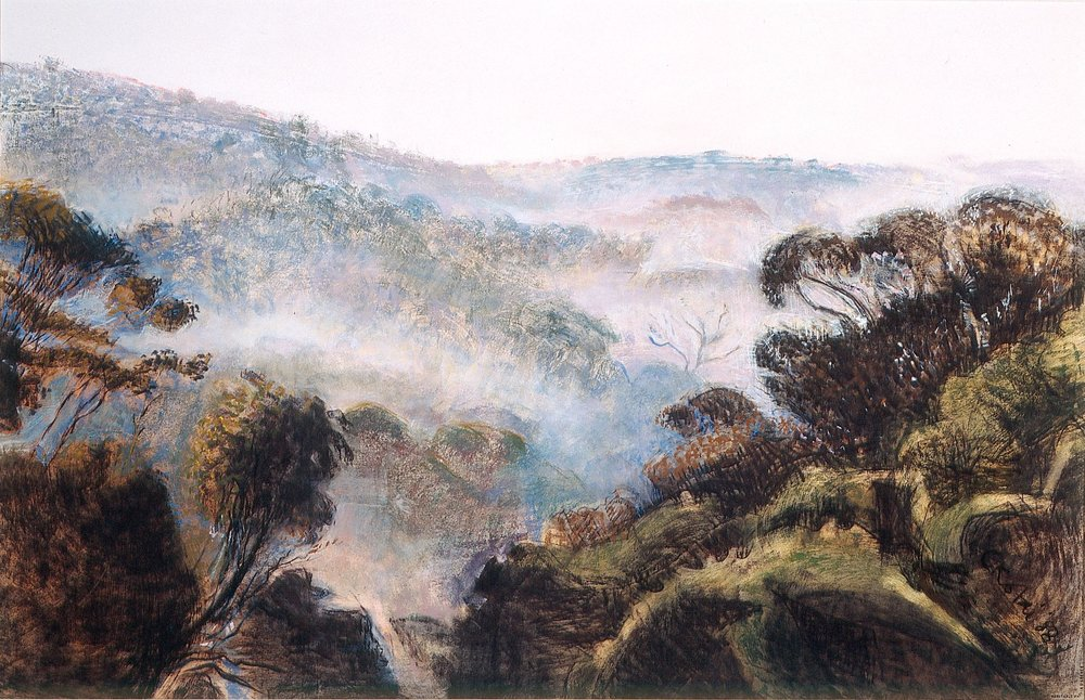 Morning Mist 1988, pastel and charcoal on Arches paper, 57 x 76cm. Private Collection
