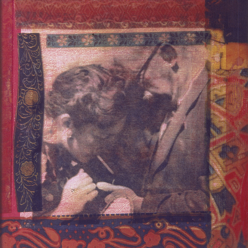 Old Photographs, Second Round - Borka and Nagypapa 1995, photographic transfer on acrylic sheet on woodcut on paper, 30 x 30cm. Private Collection