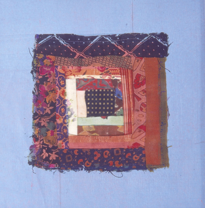 Patch Work 2 1995, photographic transfer on acrylic sheet on woodcut on paper, 30 x 30cm. Private Collection