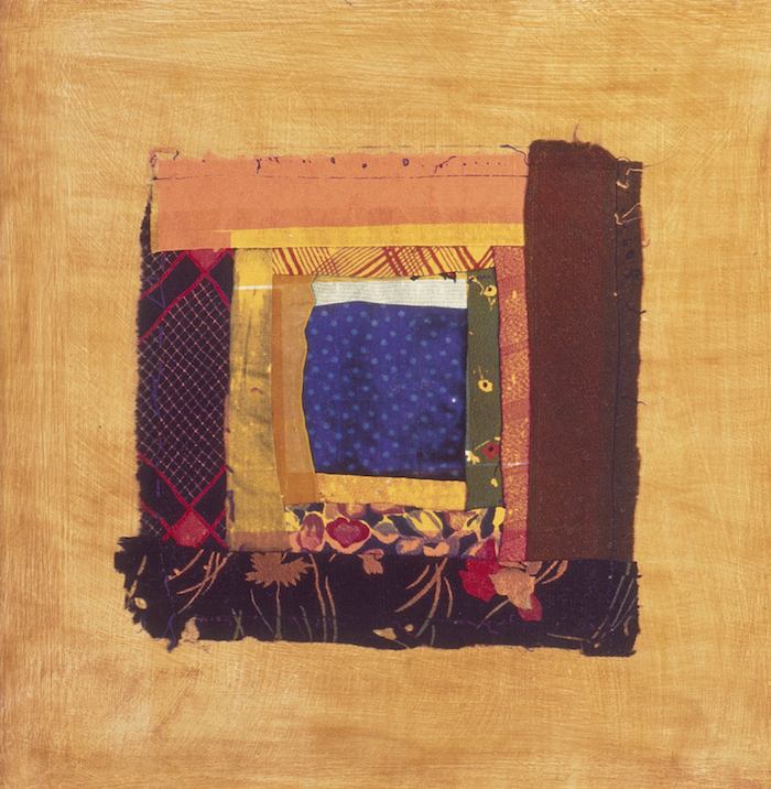 Patch Work 4 1995, photographic transfer on acrylic sheet on woodcut on paper, 30 x 30cm. Private Collection